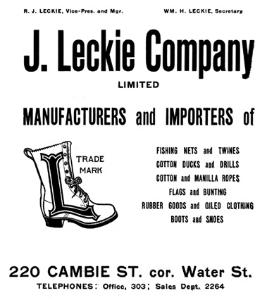 J Leckie Company Limited - Henderson's City of Vancouver and North Vancouver Directory 1910 - page 102 - edited details