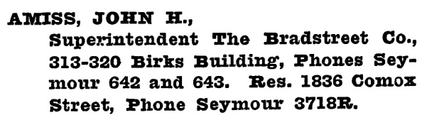 John Haines Amiss - Henderson's Greater Vancouver City Directory - 1918 - page 355
