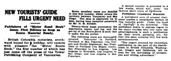 New Tourists' Guide Fills Urgent Need, Victoria Daily Colonist, July 27, 1919, page 22, https://archive.org/stream/dailycolonist61y191uvic#page/n21/mode/1up