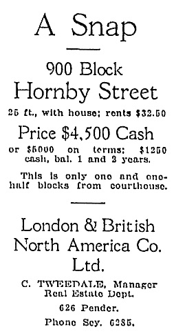 Property for Sale, London & British North America Co. Ltd., C. Tweedale, Manager Real Estate Dept., Vancouver Sun, September 25, 1920, page 13: https://news.google.com/newspapers?id=iCZlAAAAIBAJ&sjid=iYgNAAAAIBAJ&pg=2477%2C2522785