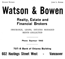 Watson and Bowen - Henderson's Greater Vancouver City Directory - 1913 - page 90