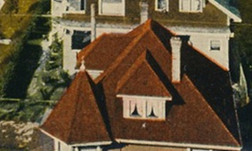 1102 Gilford Street - detail from postcard - Gilford Street – Intersections with Comox – Nelson – Barclay – Valentine & Sons' Publishing Co., Ltd – Montreal and Toronto – Printed in Great Britain