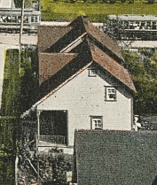 1822 Pendrell Street - foreground - and 1816 Pendrell Street - rear - about 1912 - detail from postcard - The West End - Looking up Pendrell Street - Vancouver BC