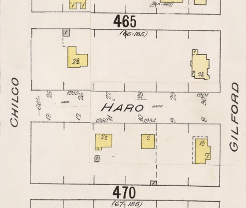 1900 Block Haro Street - Detail from Insurance plan - City of Vancouver, July 1897, revised June 1903 - Sheet 43 - Coal Harbour to Comox Street and Bidwell Street to Stanley Park