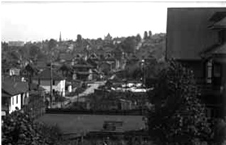 1919 Robson Street - Rear yard - 1907 - detail from Vancouver Public Library - West End and Stanley Park views - VPL Accession Number 5447