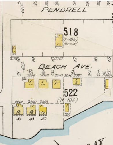 2000 Block Beach Avenue - detail from Insurance plan - City of Vancouver - July 1897 - revised June 1903 - Sheet 45 - Comox Street to English Bay and Bidwell Street to Stanley Park