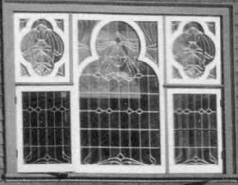 2040 Nelson Street - 1908- stained glass window on west wall - detail from Vancouver City Archives - PAN P103 - [View of the 1900 Block and 2000 Block of Nelson Street]; http://searcharchives.vancouver.ca/view-of-1900-block-and-2000-block-of-nelson-street;rad