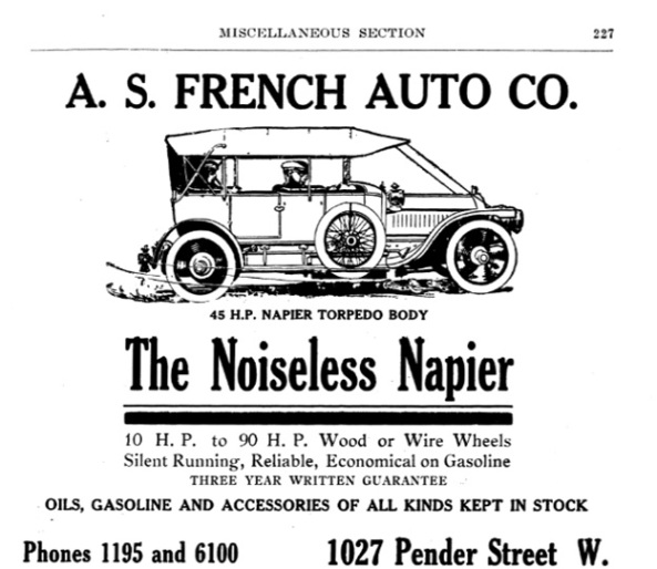 A S French Auto Co – advertisement - Henderson's Greater Vancouver Directory -1911 - page 227