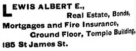 Albert E Lewis - Business Listing - Montreal directory - 1897 - page 816, https://archive.org/stream/cihm_37072#page/n828/mode/1up