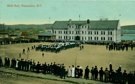 Beatty Armoury - Drill Hall, postcard, about 1911