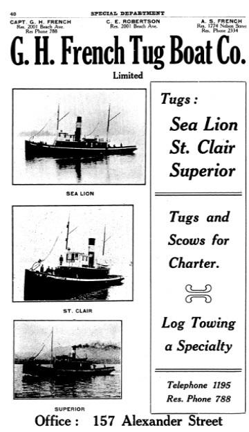 G H French Tug Boat Co - Henderson's City of Vancouver Directory - 1908 - page 40