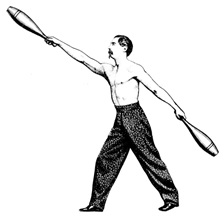 Indian club swinging; http://www.indianclubs.com/images/oldswinger.jpg