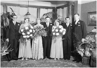 John Burton Sutherland and Christina Ross Duff – Wedding – September 9 1932 - City of Vancouver Archives - CVA 99-4256 Mr. Sutherland - 1901 Barclay Street - wedding group; http://searcharchives.vancouver.ca/mr-sutherland-1901-barclay-street-wedding-group-2;rad