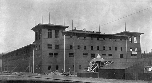 Vancouver Horse Show Building under construction; about 1909; source: family album of Helen G. White (Wilband), courtesy of D. Wilband.