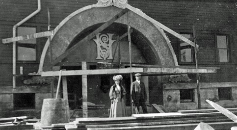Vancouver Horse Show Building under construction; about 1909; source: family album of Helen G. White (Wilband), courtesy of D. Wilband. [people tentatively identified as Bettie White and Asa White.]