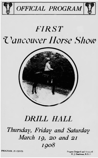 Vancouver Horse Show, Official Program, 1908, https://archive.org/stream/cihm_98397#page/n4/mode/1up