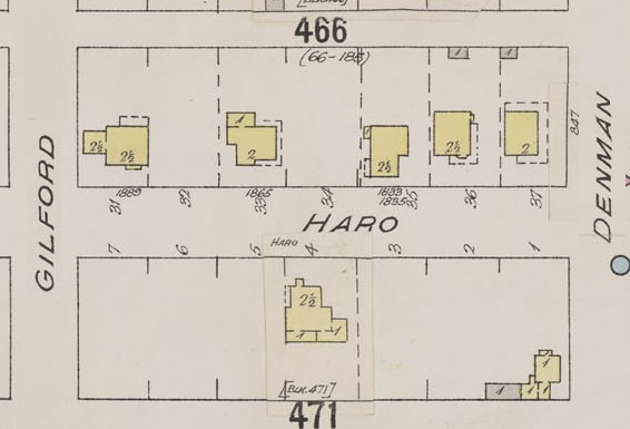 1800 Block Haro Street - Detail from Insurance plan - City of Vancouver, July 1897, revised June 1901 - Sheet 43 - Coal Harbour to Comox Street and Bidwell Street to Stanley Park
