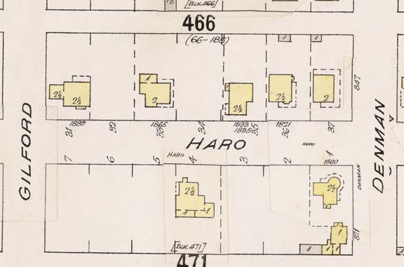 1800 Block Haro Street - Detail from Insurance plan - City of Vancouver, July 1897, revised June 1903 - Sheet 43 - Coal Harbour to Comox Street and Bidwell Street to Stanley Park