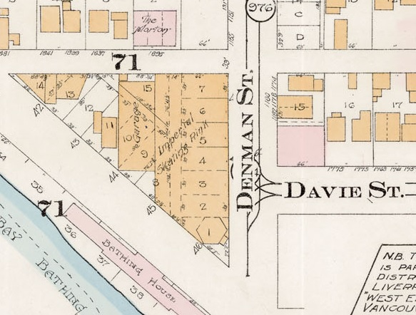 1100 Block Denman Street - detail from Goad's Atlas of the city of Vancouver - 1912 - Vol 1 - Plate 8 - Barclay Street to English Bay and Cardero Street to Stanley Park