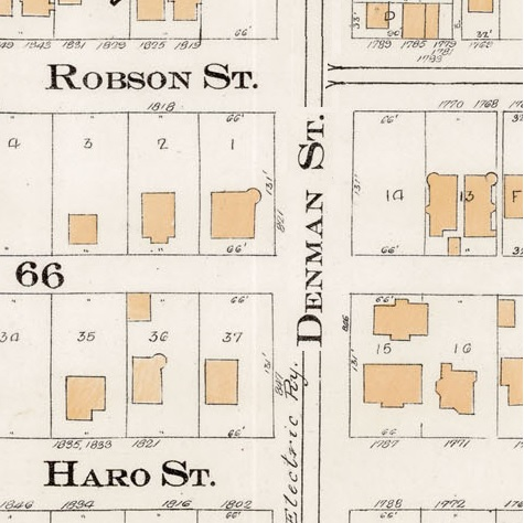 821 and 847 Denman Street - detail from Goad's Atlas of the city of Vancouver - 1912 - Vol 1 - Plate 7 - Coal Harbour to Barclay Street and Cardero Street to Stanley Park