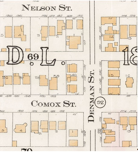Denman Street - between Nelson Street and Comox Street - Detail from Goad's Atlas of the city of Vancouver - 1912 - Vol 1 - Plate 8 - Barclay Street to English Bay and Cardero Street to Stanley Park