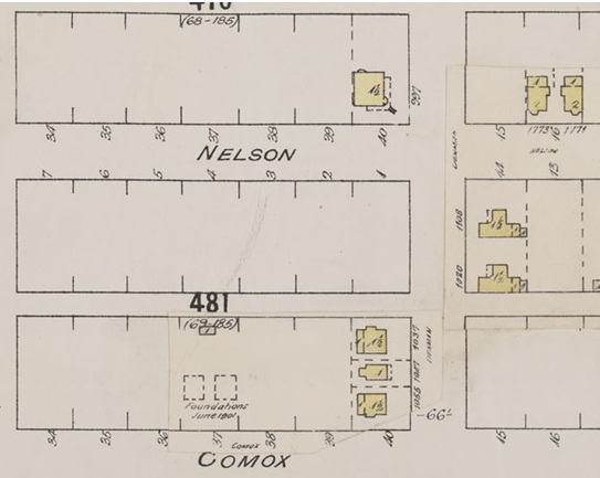 Denman Street - between Nelson Street and Comox Street - Detail from Insurance plan - City of Vancouver - July 1897 - revised June 1901 - Sheet 43 - Coal Harbour to Comox Street and Bidwell Street to Stanley Park