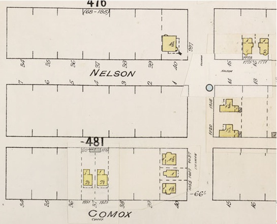 Denman Street - between Nelson Street and Comox Street - Detail from Insurance plan - City of Vancouver - July 1897 - revised June 1903 - Sheet 43 - Coal Harbour to Comox Street and Bidwell Street to Stanley Park