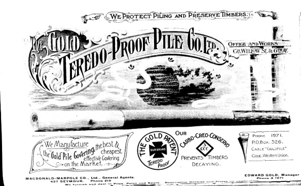 Gold Teredo-Proof Pile Company Ltd - advertisement - Henderson's City of Vancouver Directory - 1908 - page 60