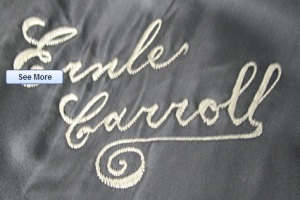 Lining of fur coat with Ernle Carroll embroidered on fabric; http://www.propertyroom.com/l/womens-mink-fur-coat-size-medium/9330468.