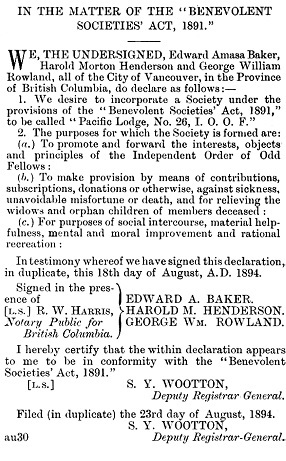 Pacific Lodge, No. 26, I.O.O.F., application to incorporate society; The British Columbia Gazette, September 27, 1894, page 886; https://archive.org/stream/governmentgazett34nogove_d9z2#page/886/mode/1up. [selected portions]