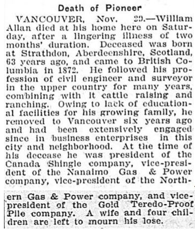 William Allan - obituary - Victoria Daily Colonist - November 30 1909 - page 5; https://archive.org/stream/dailycolonist19091130uvic/19091130#page/n3/mode/1up