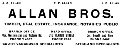 Allan Brothers - Henderson's City of Vancouver and North Vancouver Directory - 1910 - Part 1 - page 77