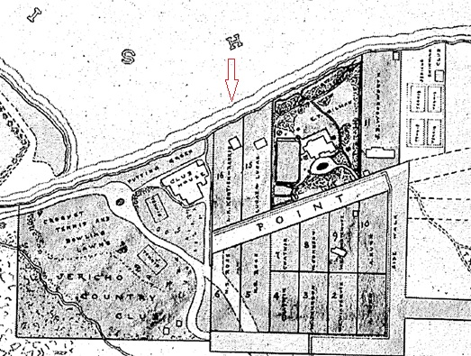 "Detail of Thorley Park area: Thorley Park to Brock House, Jo Pleshakov, Editor, Vancouver, Brock House Society, 2012, page 69. ""L. K. Kentish-Rankin"" is in lot 16, below the arrow, and just to the right of the Jericho club house."