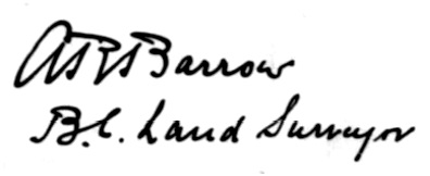 A R Barrow signature - Survey plan of Se-As-Bunkut Indian Reservation Number 2 - 1912; http://www.lac-bac.gc.ca/databases/indian-reserves/001004-119.02-e.php?&isn_id_nbr=211&interval=50&page_sequence_nbr=1&&PHPSESSID=o3cqkqv2g25jr1lbbqd2ete2d7