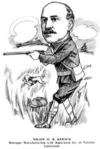 """Major W.B. Barwis, Manager Manufacturers Life Assurance Co. of Toronto, Vancouver,"" British Columbians As We See 'Em, Author: Newspaper Cartoonists Association of British Columbia; Publisher: [Vancouver, B.C.] : Newspaper Cartoonists Association of British Columbia; unpaginated, https://archive.org/stream/britishcolumbian00newsrich#page/n164/mode/1up"