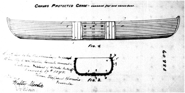 Thomas Sheppard Barwis, inventor, Canvas-Protected Canoe, http://patents.ic.gc.ca/opic-cipo/cpd/eng/patent/60883/page/60883_20130713_drawings.pdf