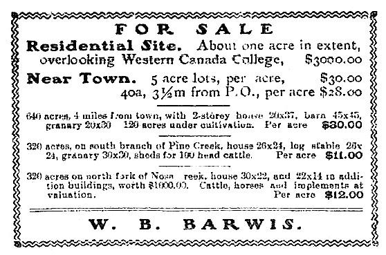W B Barwis, Calgary Herald, September 20, 1905, page 7; http://www.ourfutureourpast.ca/newspapr/np_page2.asp?code=n1lp1083.jpg
