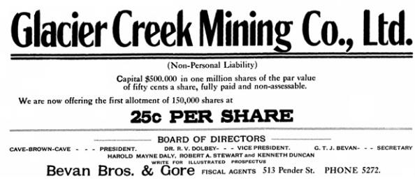 Glacier Creek Mining Company Ltd - BC Saturday Sunset - November 13 1909 - page 17; http://content.lib.sfu.ca/cdm/compoundobject/collection/bcss/id/2185/rec/1