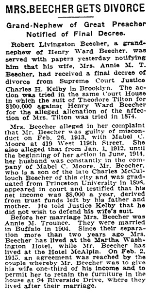 Mrs. Beecher Gets Divorce, New York Times, August 20, 1916