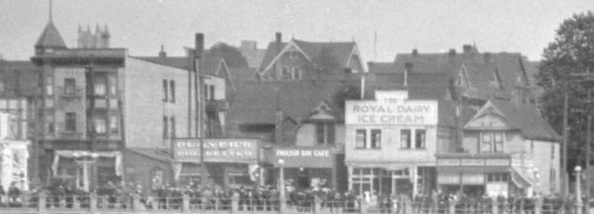 1200 block, east side, Denman Street - about 1919 - View of English Bay Beach and bathhouses -detail - City of Vancouver Archives - CVA 447-24; http://searcharchives.vancouver.ca/view-of-english-bay-beach-and-bathhouses-2.