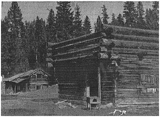 Deserted buildings on the Bostock ranch at Monte Lake, between Kamloops and Falkland on the CPR line to the Okanagan, are a link with the pioneer past. The buildings, among the oldest in the district, were fashioned from hand-hewn shakes and plans and expertly cut logs. Bruce Moss photo. Vancouver Sun, December 9, 1954, page 5.