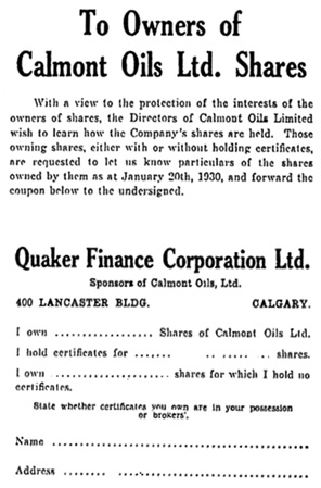 Calmont Oils Ltd - Ottawa Citizen, January 27, 1930, page 16, http://news.google.com/newspapers?id=GmsuAAAAIBAJ&sjid=j9oFAAAAIBAJ&pg=4219%2C3035247