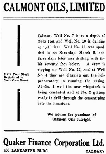 Calmont Oils Ltd., Ottawa Citizen, March 19, 1930, page 5, http://news.google.com/newspapers?id=ahsvAAAAIBAJ&sjid=ONsFAAAAIBAJ&pg=3506%2C2497089