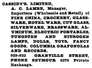 Cassidy's Limited - Henderson's Vancouver Directory - 1921 - page 522