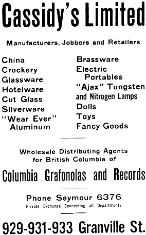 Cassidy's Limited - Henderson's Vancouver Directory - 1920 - page 75