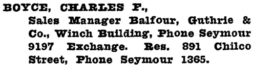 Charles F. Boyce, Henderson's Greater Vancouver City Directory, 1918, page 395