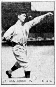 George Boston, Pitcher, Arnold & Quigley, Vancouver Senior Amateur Card 3 - Version 4; https://www.flickr.com/photos/baseballart/8421266162/in/photostream/
