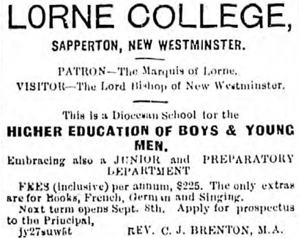 Lorne College advertisement - Daily British Colonist - August 21  1884 - page 1