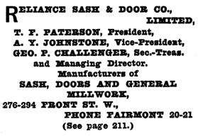 Reliance Sash and Door - Henderson's Greater Vancouver City Directory -1913 - page 1228