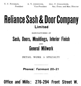 Reliance Sash and Door - Henderson's Greater Vancouver City Directory -1913 - page 211